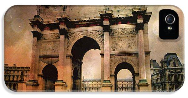Louvre Museum Arc De Triomphe Louvre Arch Courtyard Sepia- Louvre Museum Arc Monument IPhone 5 Case by Kathy Fornal