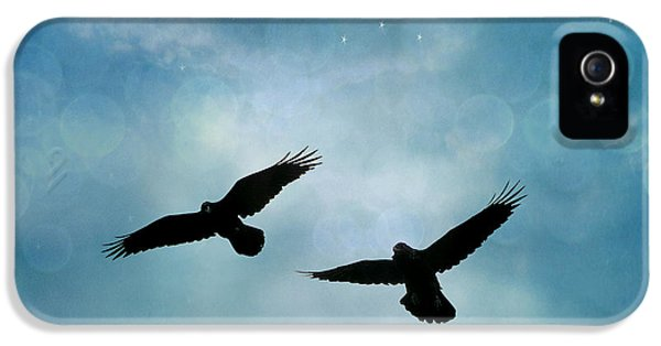 Surreal Ravens Crows Flying Blue Sky Stars IPhone 5 / 5s Case by Kathy Fornal