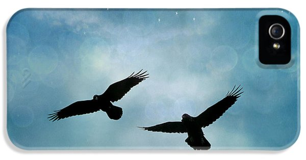Surreal Ravens Crows Flying Blue Sky Stars IPhone 5 Case by Kathy Fornal