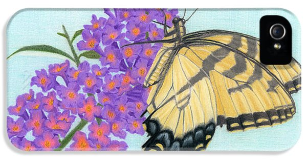 Swallowtail Butterfly And Butterfly Bush IPhone 5 Case by Sarah Batalka