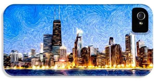 Swirly Chicago At Night IPhone 5 Case by Paul Velgos