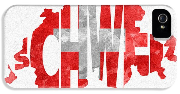 Switzerland Typographic Map Flag IPhone 5 Case by Ayse Deniz