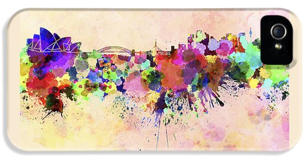 Sydney Skyline In Watercolor Background IPhone 5 / 5s Case by Pablo Romero