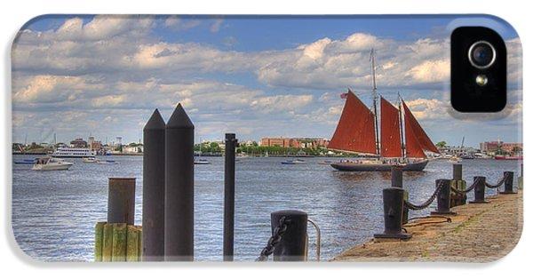 Tall Ship The Roseway In Boston Harbor IPhone 5 Case by Joann Vitali