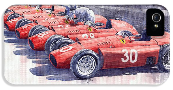 1956 Team Lancia Ferrari D50 Type C 1956 Italian Gp IPhone 5 Case by Yuriy  Shevchuk