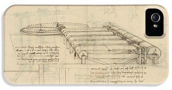 Teaselling Machine To Manufacture Plush Fabric From Atlantic Codex  IPhone 5 Case by Leonardo Da Vinci