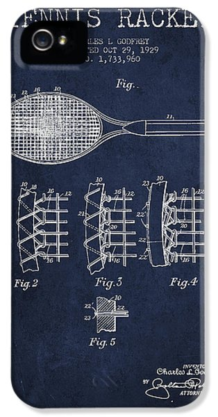 Tennnis Racket Patent Drawing From 1929 IPhone 5 / 5s Case by Aged Pixel