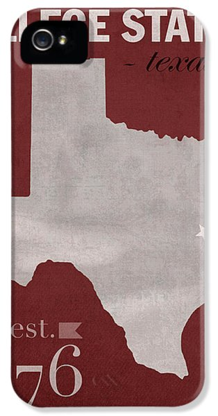 Texas A And M University Aggies College Station College Town State Map Poster Series No 106 IPhone 5 Case
