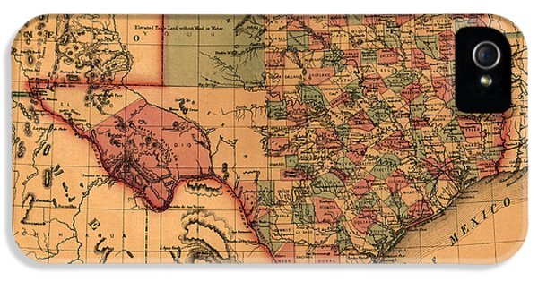 Texas Map Art - Vintage Antique Map Of Texas IPhone 5 Case