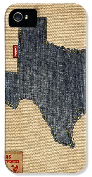 Texas Map Denim Jeans Style IPhone 5 / 5s Case by Michael Tompsett