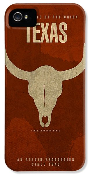 Texas State Facts Minimalist Movie Poster Art  IPhone 5 Case