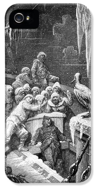 The Albatross Being Fed By The Sailors On The The Ship Marooned In The Frozen Seas Of Antartica IPhone 5 / 5s Case by Gustave Dore