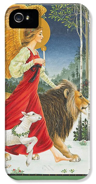 Lion iPhone 5 Case - The Angel The Lion And The Lamb by Lynn Bywaters