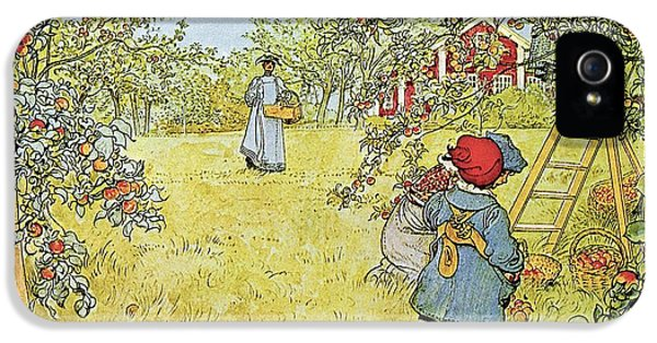 Rural Scenes iPhone 5 Case - The Apple Harvest by Carl Larsson