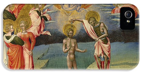 The Baptism Of Christ - Predella Panel IPhone 5 Case by Giovanni di Paolo