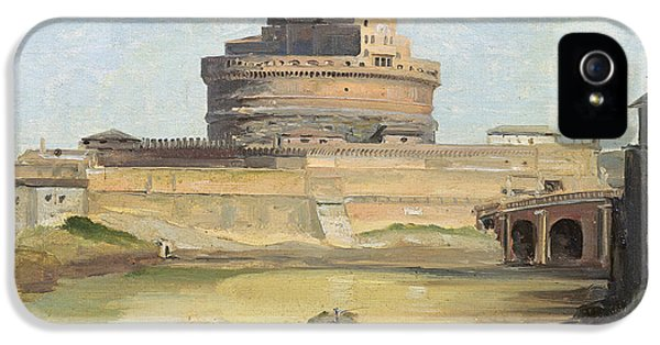The Castle Of St. Angelo, Rome Oil On Canvas IPhone 5 Case by Jean Baptiste Camille Corot