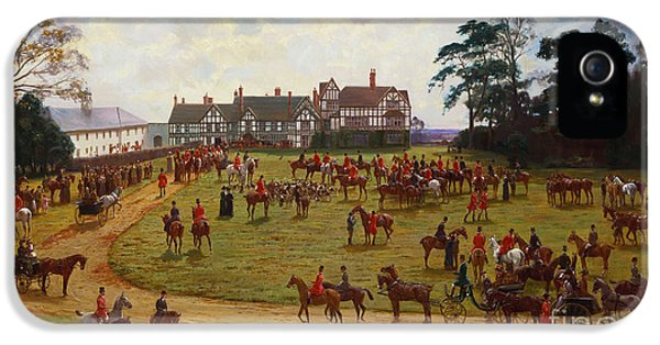 The Cheshire Hunt    The Meet At Calveley Hall  IPhone 5 Case by George Goodwin Kilburne