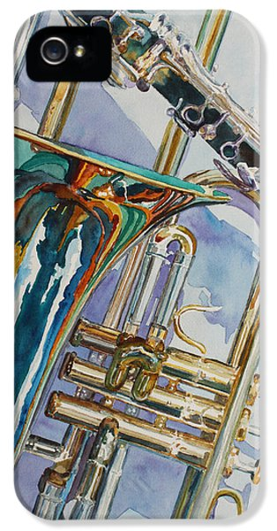 Trombone iPhone 5 Case - The Color Of Music by Jenny Armitage