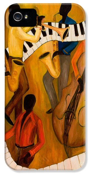 Trumpet iPhone 5 Case - The Get-down Jazz Quintet by Larry Martin