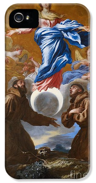 The Immaculate Conception With Saints Francis Of Assisi And Anthony Of Padua IPhone 5 Case by Il Grechetto