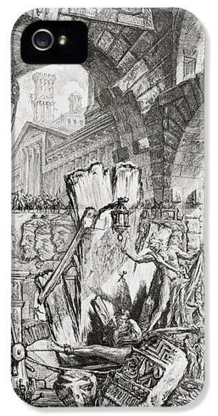 Dungeon iPhone 5 Case - The Man On The Rack Plate II From Carceri D'invenzione by Giovanni Battista Piranesi