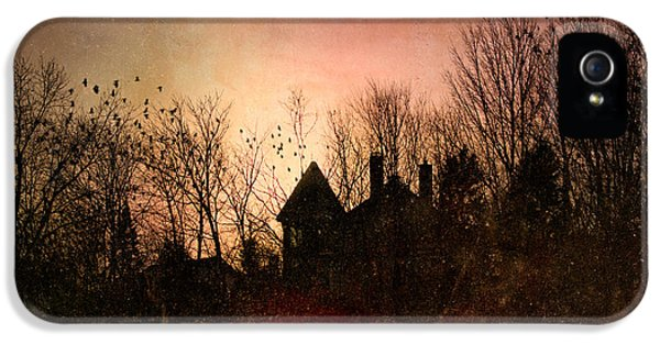 Spooky iPhone 5 Cases - The Mansion Is Warm At The Top Of the Hill iPhone 5 Case by Bob Orsillo