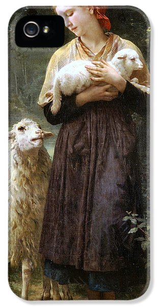 Sheep iPhone 5 Case - The Newborn Lamb by William Bouguereau