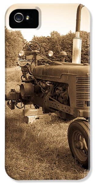 Etna iPhone 5 Case - The Old Tractor Sepia by Edward Fielding