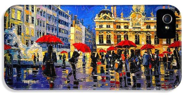 The Red Umbrellas Of Lyon IPhone 5 Case by Mona Edulesco