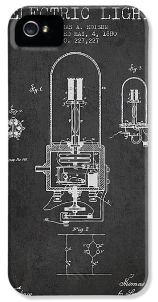 Thomas Edison Electric Light Patent From 1880 - Charcoal IPhone 5 Case