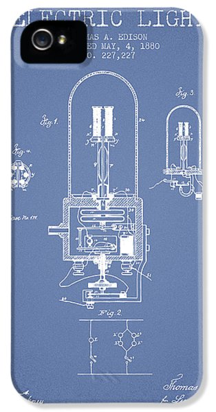 Thomas Edison Electric Light Patent From 1880 - Light Blue IPhone 5 Case