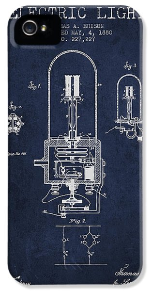 Thomas Edison Electric Light Patent From 1880 - Navy Blue IPhone 5 Case