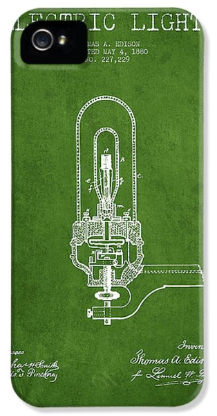 Thomas Edison Electric Lights Patent From 1880 - Green IPhone 5 Case
