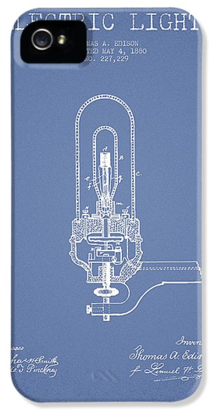 Thomas Edison Electric Lights Patent From 1880 - Light Blue IPhone 5 Case