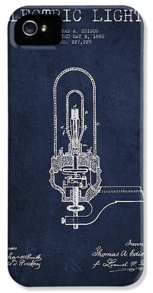 Thomas Edison Electric Lights Patent From 1880 - Navy Blue IPhone 5 Case