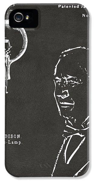 Thomas Edison Lightbulb Patent Artwork Gray IPhone 5 Case by Nikki Marie Smith