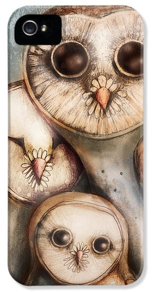 Owl iPhone 5 Case - Three Wise Owls by Karin Taylor
