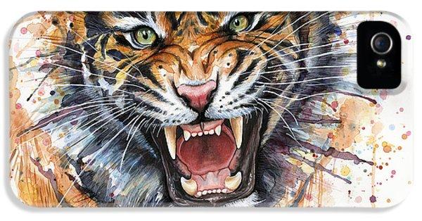 Tiger Watercolor Portrait IPhone 5 Case by Olga Shvartsur