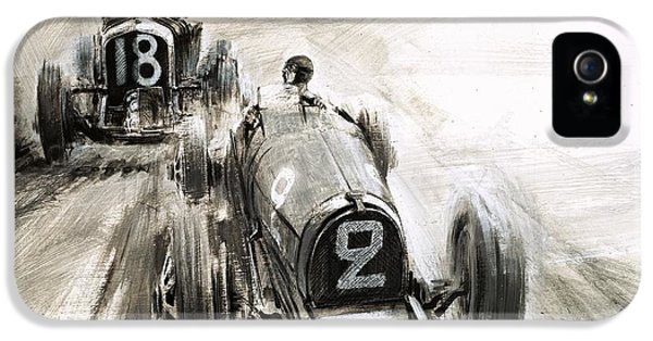 Tim Birkin Driving At Brooklands IPhone 5 Case by Graham Coton