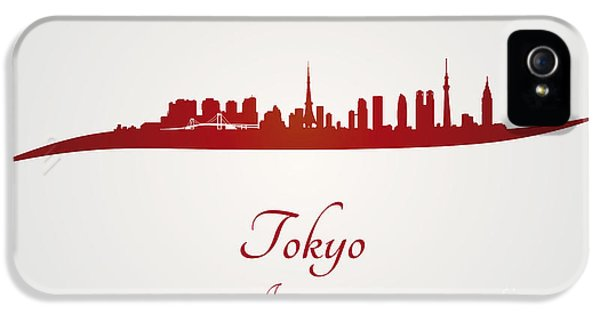 Tokyo Skyline In Red IPhone 5 Case by Pablo Romero