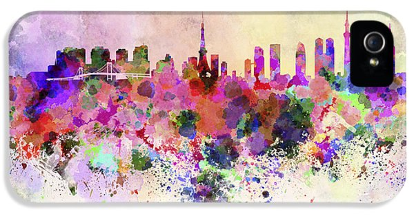 Tokyo Skyline In Watercolor Background IPhone 5 Case by Pablo Romero