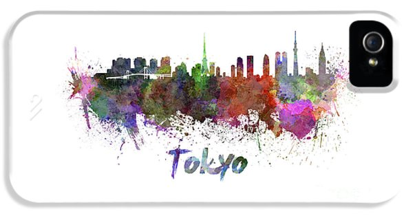 Tokyo Skyline In Watercolor IPhone 5 Case by Pablo Romero