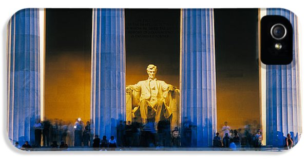 Tourists At Lincoln Memorial IPhone 5 Case by Panoramic Images