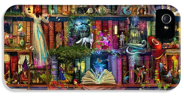 Wizard iPhone 5 Case - Fairytale Treasure Hunt Book Shelf by Aimee Stewart