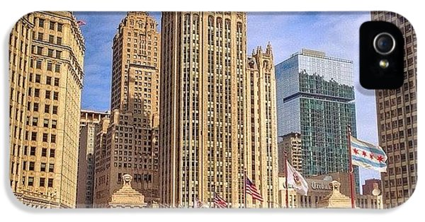 City iPhone 5 Case - Tribune Tower And Dusable Bridge In by Paul Velgos