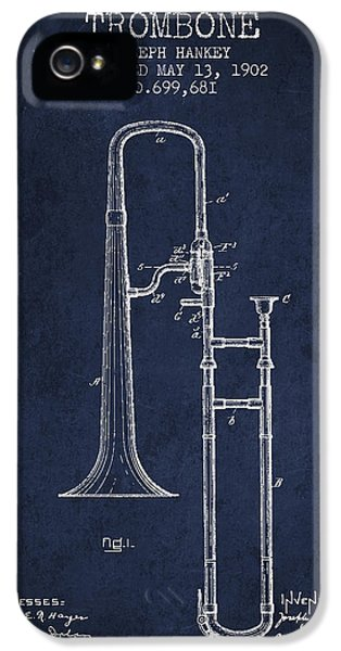 Trombone iPhone 5 Case - Trombone Patent From 1902 - Blue by Aged Pixel