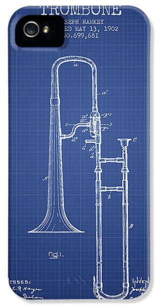 Trombone iPhone 5 Case - Trombone Patent From 1902 - Blueprint by Aged Pixel