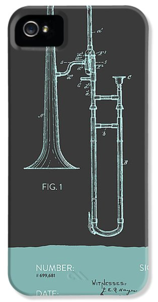 Trombone iPhone 5 Case - Trombone Patent From 1902 - Modern Gray Blue by Aged Pixel