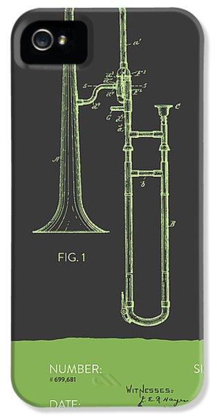 Trombone iPhone 5 Case - Trombone Patent From 1902 - Modern Gray Green by Aged Pixel