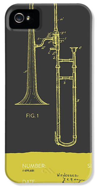 Trombone iPhone 5 Case - Trombone Patent From 1902 - Modern Gray Yellow by Aged Pixel